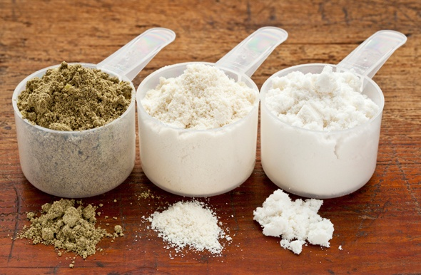 three-scoops-of-varying-protein-powders