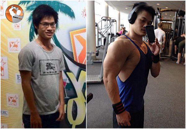 Qúa trình lột xác của Byn Nguyễn nhờ vào lịch tập Gym cho người gầy