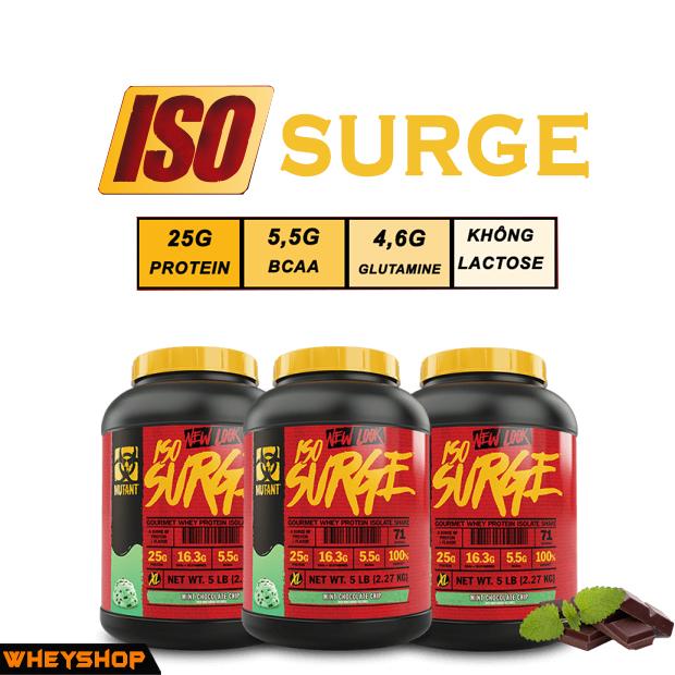 Iso surge là thực phẩm bổ sung whey tinh khiết đánh giá cao nhất của hãng mutant wheyshop.