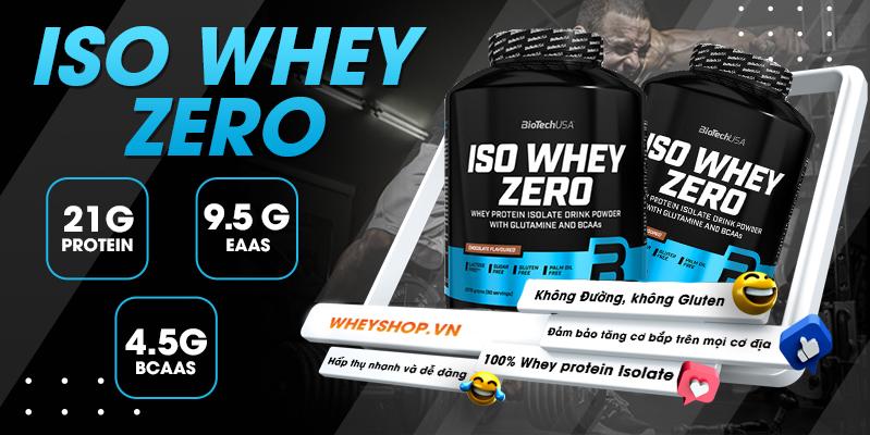 iso whey zero là whey isolate thuần khiết , 21g protein trên 1 muỗng 25g bột giúp phát triển cơ bắp,sản sinh cơ nạc,phù hợp cho cả nam và nữ chơi thể thao