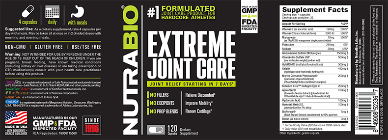 NutraBio® Extreme Joint Care 120 viên 1