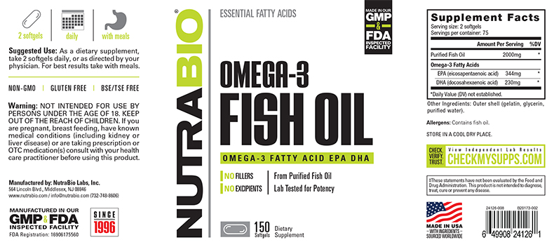 NutraBio® Fish Oil 150 viên 2
