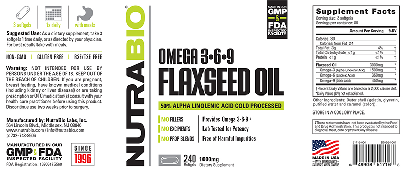 NutraBio® Flaxseed Oil 240 viên 1