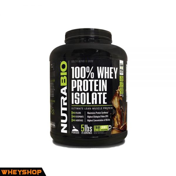 NutraBio® 100% Whey Protein Isolate 5lbs ( 2.3kg ) 1