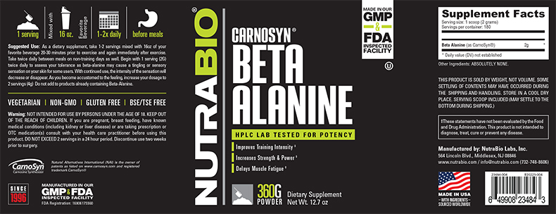 NutraBio® Beta-Alanine 360G 1