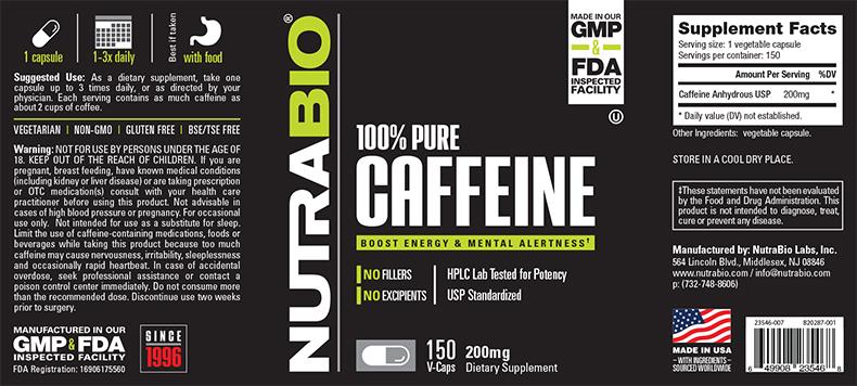NutraBio® Caffeine 150 viên 1