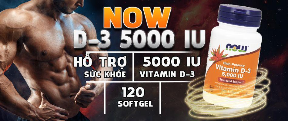 Now Vitamin D3 cung cấp 5000IU Vitamin D3 mỗi lần dùng giúp cải thiện sức khỏe, sức đề kháng, bảo vệ xương khớp và tăng cường sinh lý, testosterone hiệu quả