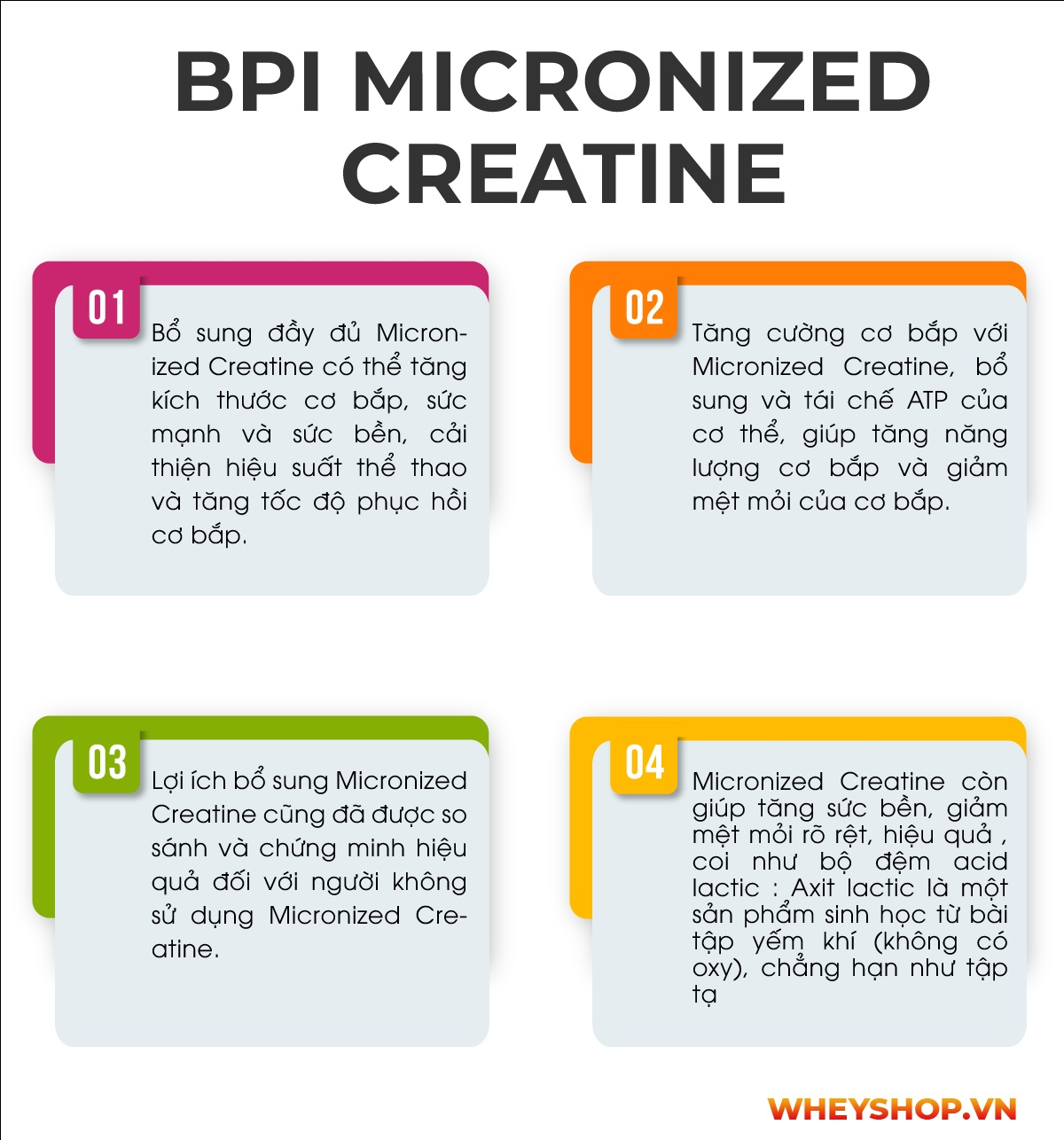 Cùng tìm hiểu BPI Micronized Creatine bổ sung Creatine tinh khiết, hỗ trợ xây dựng cơ bắp, tăng cơ bắp, tăng sức mạnh chính hãng giá rẻ nhất hiện nay chỉ ..