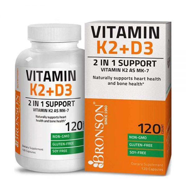 Bronson Vitamin K2 + D3 bổ sung công thức kết hợp Vitamin K2 MK7 và Vitamin D3 giúp duy trì cải thiện xương khớp chắc khỏe, tăng cường sức khỏe toàn diện