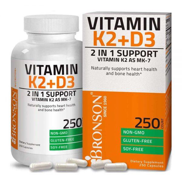 Bronson Vitamin K2 D3 bổ sung hàm lượng Vitamin K2, Vitamin D3 lớn cải thiện sức khỏe, tăng cường sức đề kháng, miễn dịch hiệu quả. Bronson Vitamin K2 D3 nhập khẩu chính hãng, cam kết chất lượng, giá rẻ nhất tại Hà Nội & Tp.HCM.