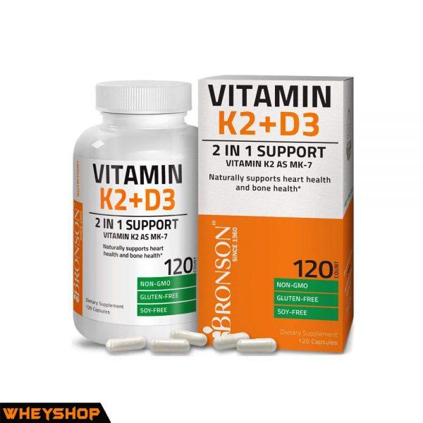 Bronson Vitamin k2 D3 120 vien ho tro phuc hoi xuong khop WHEYSHOP VN