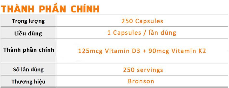 Bronson Vitamin k2 D3 250 vien bao ve xuong khop hieu qua WHEYSHOP1