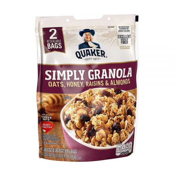 Yến mạch ngũ cốc ông già quaker simply granola 2lbs (978g) với công thức mới : yến mạch , hạt nhân , nho khô , mật ong. Yến mạch ngũ cốc ông già quaker simply granola cam kết giá rẻ nhất, chất lượng tốt nhất tại Hà Nội & Tp.HCM