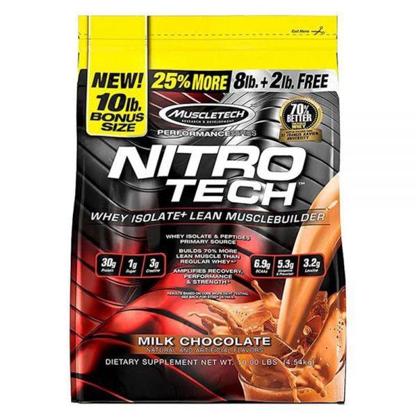 MuscleTech NitroTech 10Lbs là sản phẩm giúp phát triển cơ bắp cung cấp nhiều protein nhất,và không pha trộn nhiều chất béo, đường carbs cũng như tạp chất...