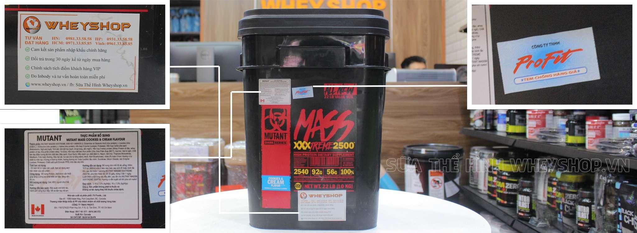 Mutant Mass XXXtreme 2500 tem nhan hieu chinh hang tai wheyshop