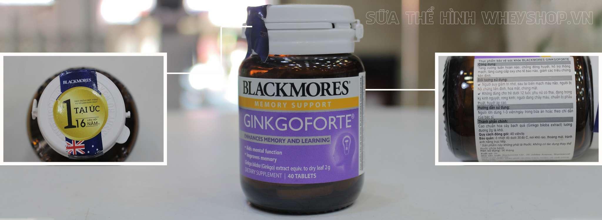 Blackmores Ginkgoforte 40 vien tem nhan hieu chinh hang tai wheyshop
