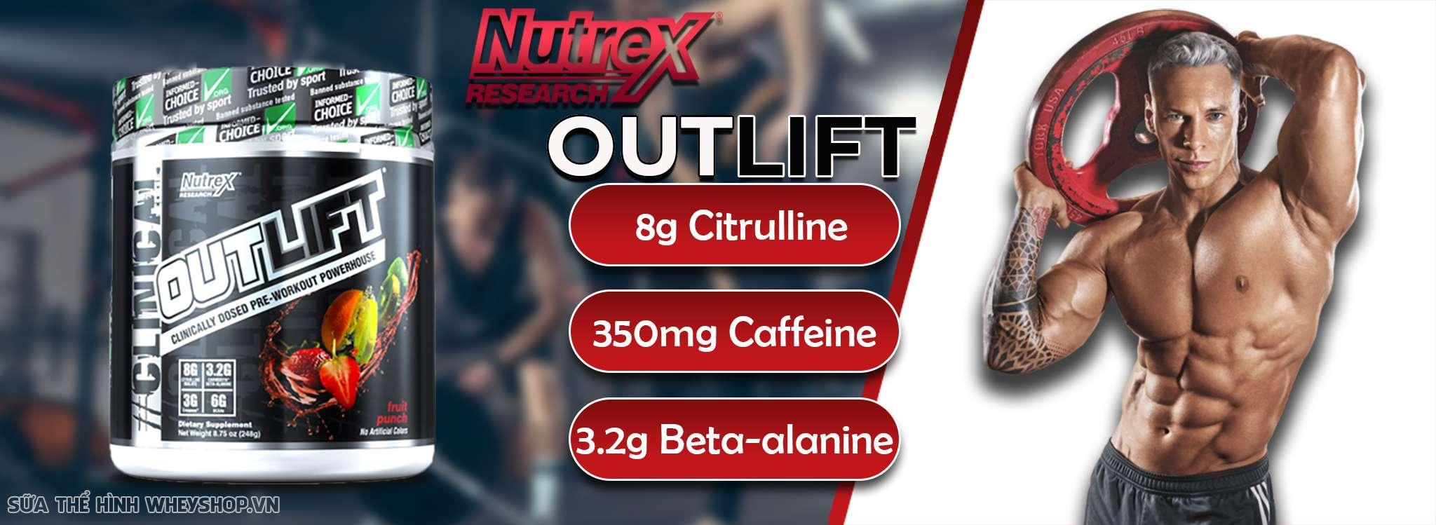 Nutrex Outlift là sản phẩm kết hợp tăng sức mạnh và phục hồi cơ bắp hàng đầu trên thị trường hiện nay. Nutrex Outlift chính hãng, giá rẻ tại Hà Nội TPHCM
