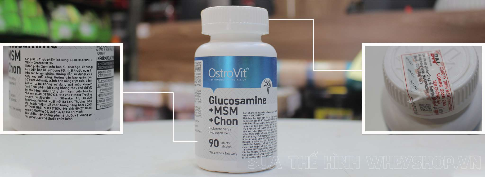 banner Ostrovit Glucosamine+MSM+Chondrotin 90 vien tem nhan hieu chinh hang tai wheyshop