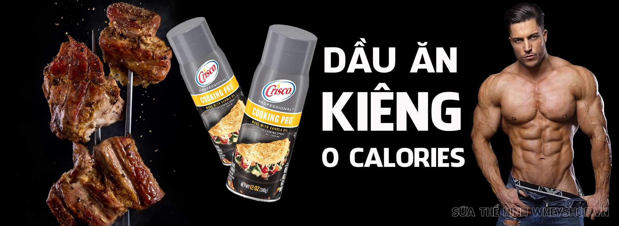 Dầu ăn kiêng dạng xịt Crisco là sản phẩm dầu ăn 0 calories hỗ trợ người ăn kiêng, người tăng cơ giảm mỡ, thoải mái chiên xào nấu mà không sợ béo, dễ sử dụng...