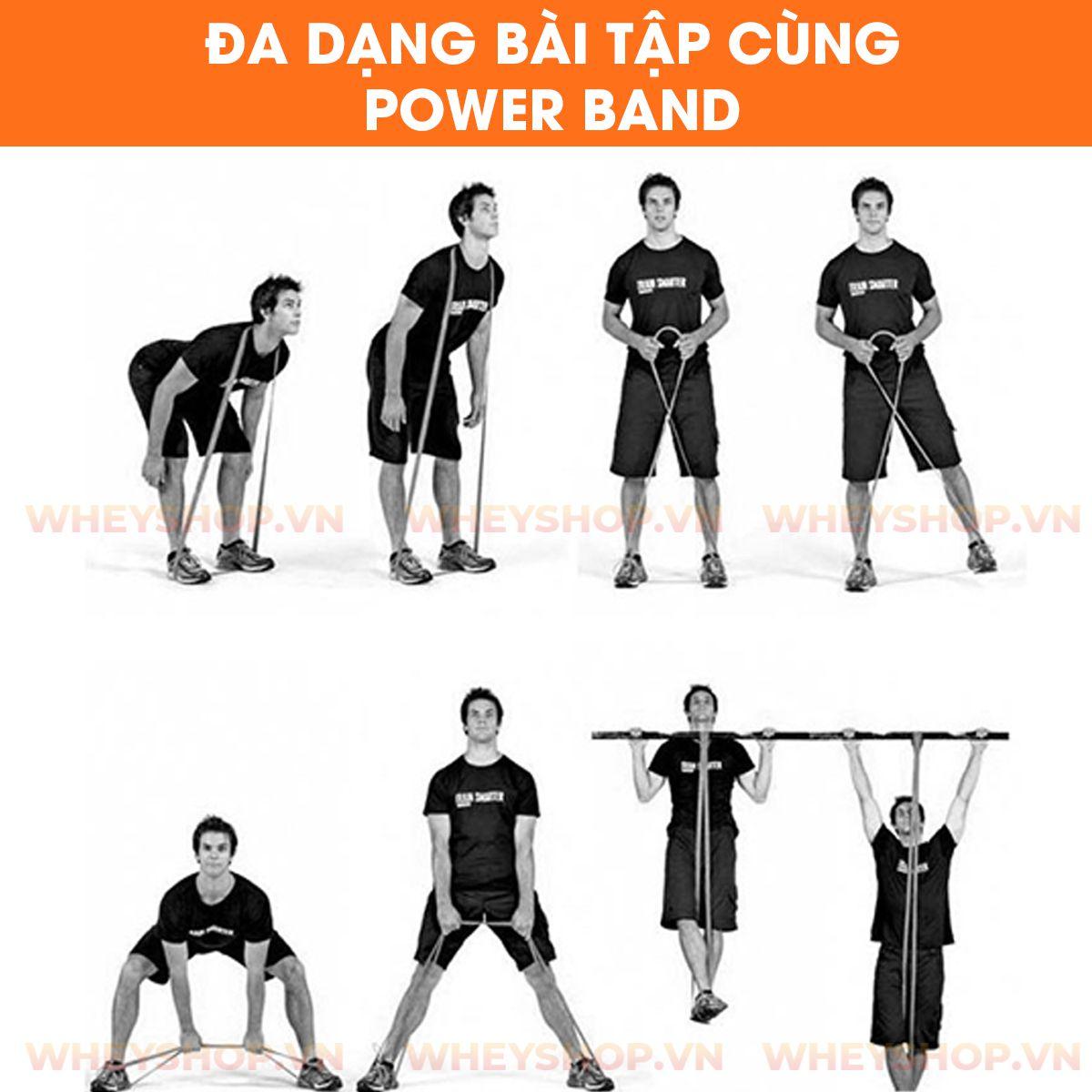 Tập gym, khởi động, giãn cơ, tập luyện tại nhà không thể thiếu dây kháng lực power band đa năng. Dây kháng lực powder band chính hãng, giá rẻ nhất thị trường