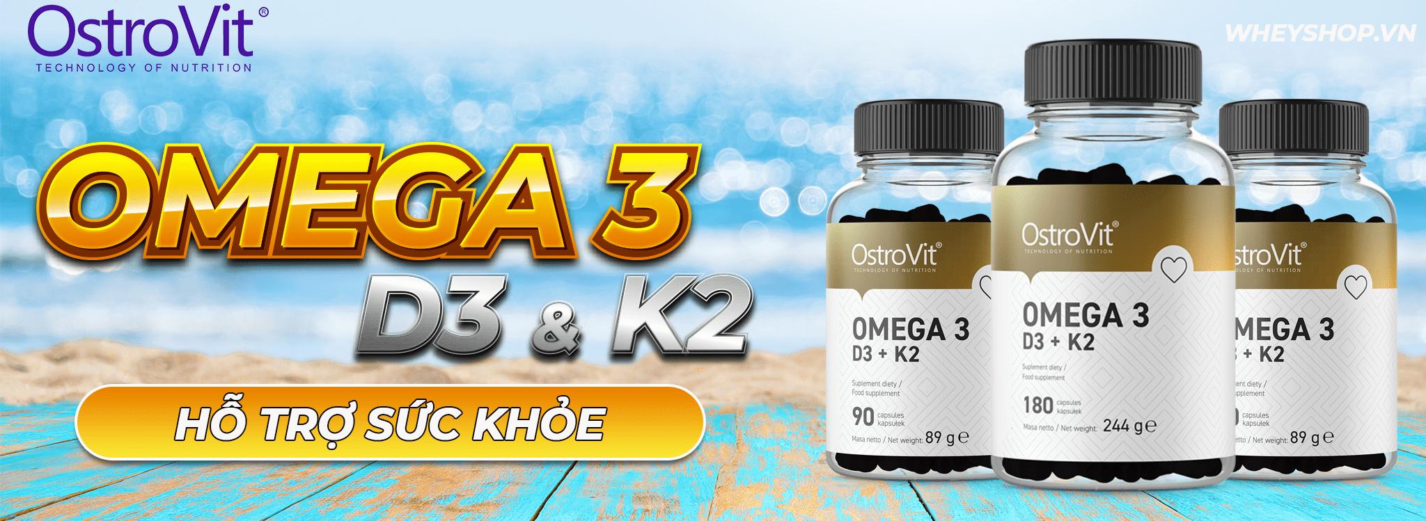 Ostrovit Omega-3 D3+K2 (90 viên) là công thức tổng hợp 3 trong 1 hỗ trợ phát triển sức khỏe toàn diện bao gồm: tim mạch, xương khớp, não bộ,...