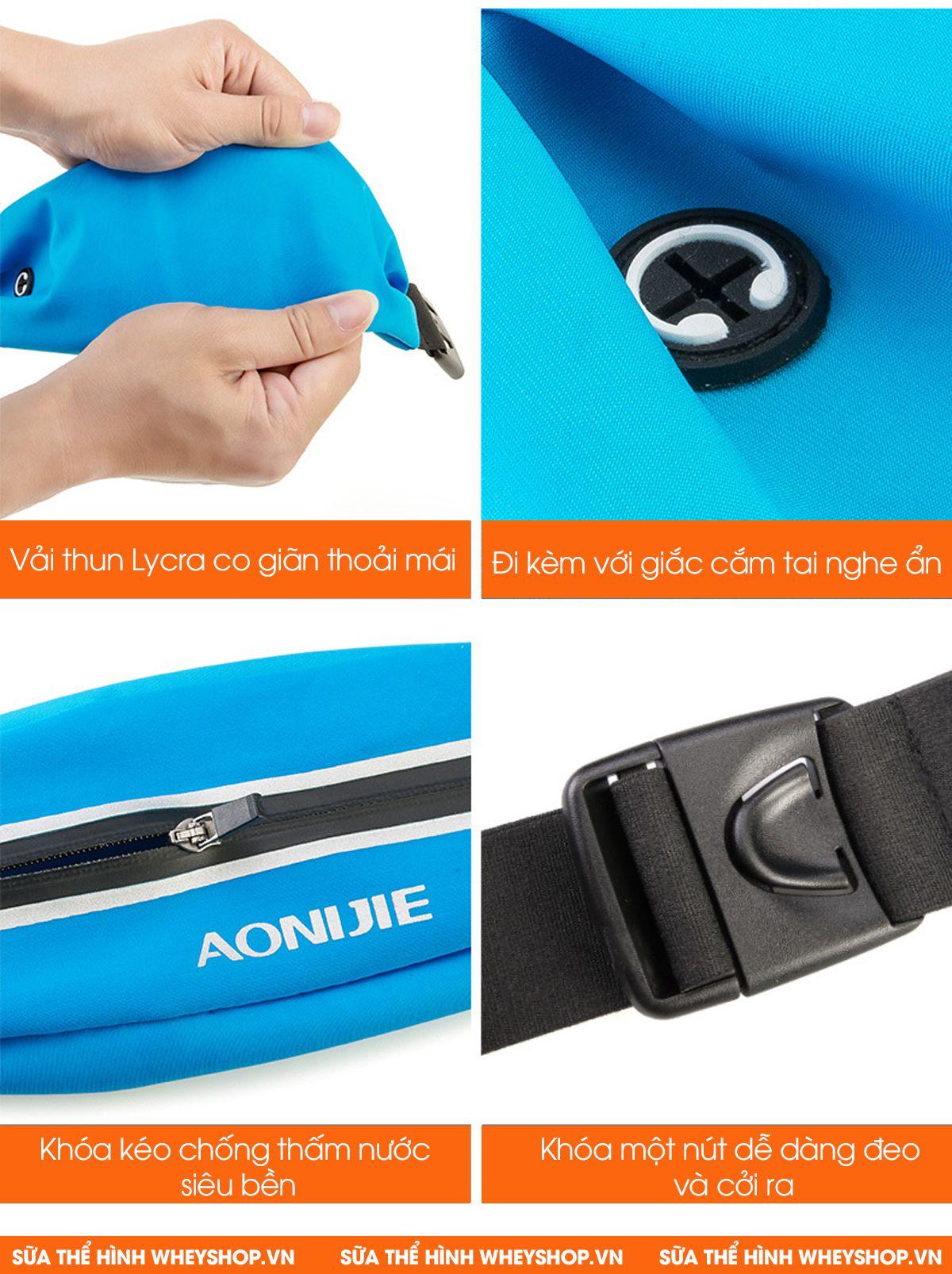 Đai đeo bụng chạy bộ Aonijie E919 tiện lợi, nhỏ gọn, chống thấm nước thích hợp cho các hoạt động ngoài trời, tập luyện..