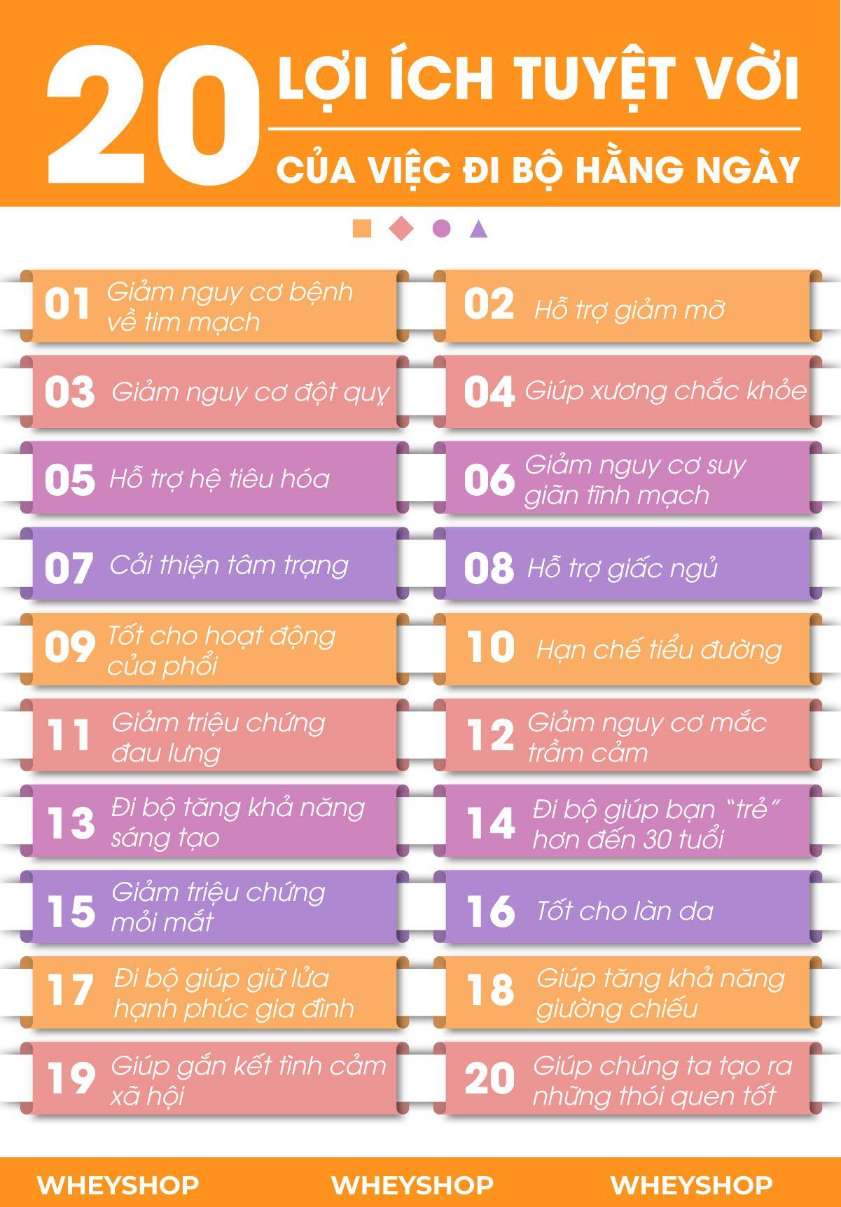 Đi bộ là hoạt động quen thuộc hằng ngày, tuy nhiên không phải ai cũng biết về lợi ích của việc đi bộ. Hãy cùng WheyShop tìm hiểu ngay về 20 lợi ích...